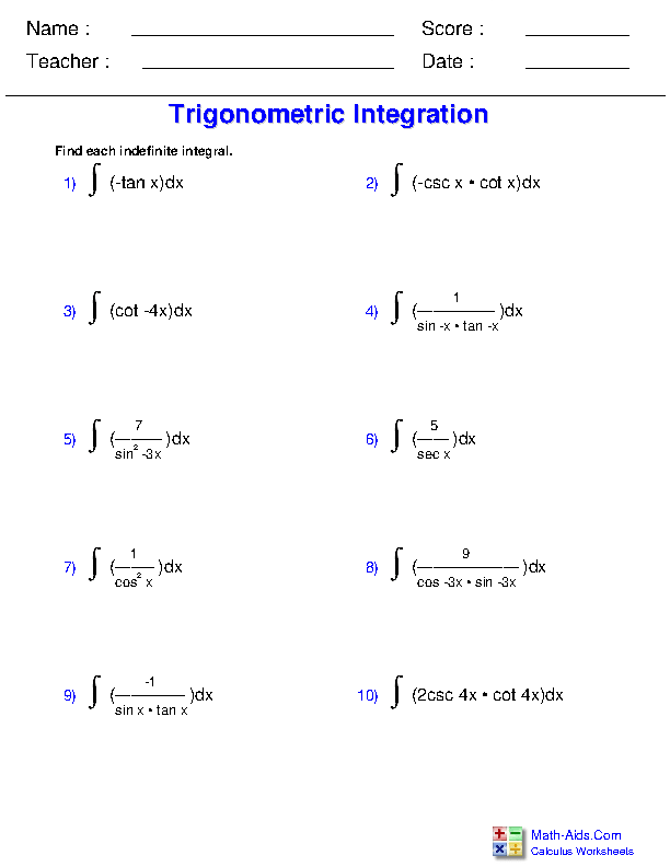 Calculus Worksheets Indefinite Integration For Calculus