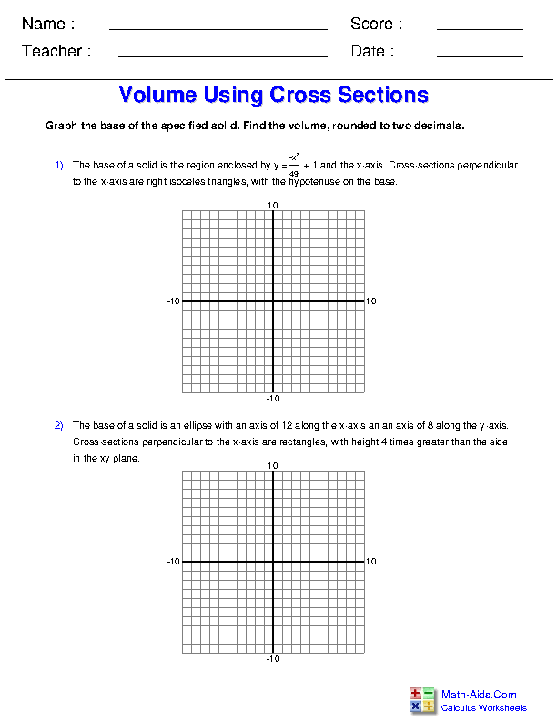 Volume using Cross Sections Worksheets