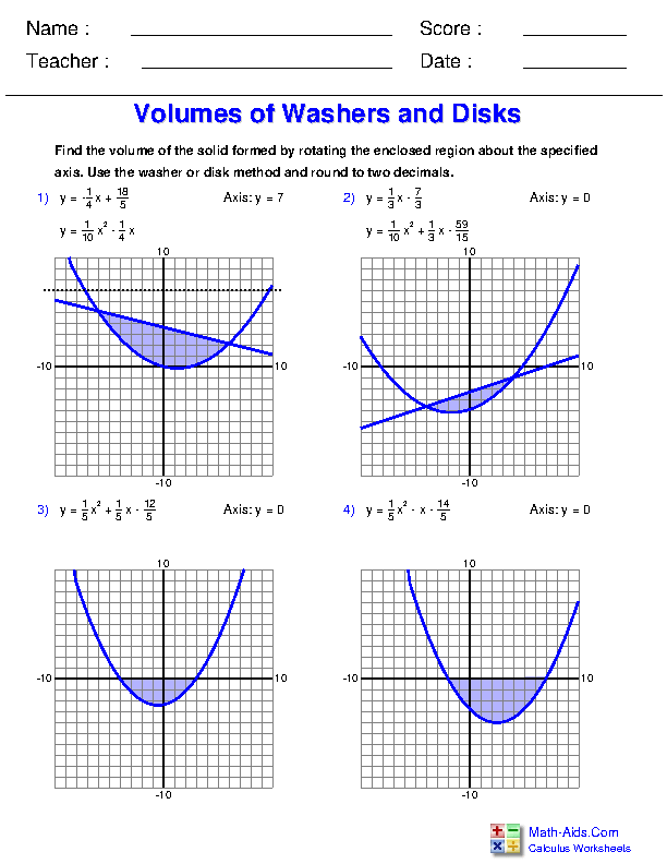 Volumes of Washers and Disks Worksheets