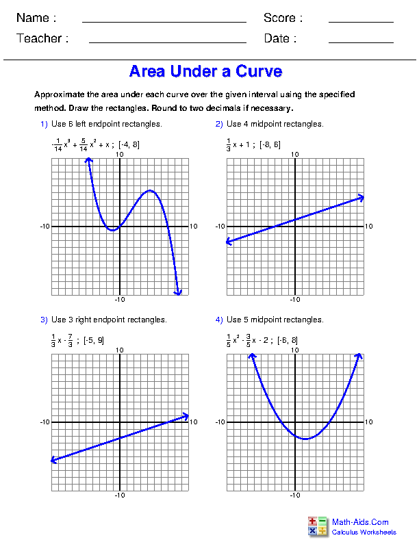 Approximating the Area under a Curve Worksheets