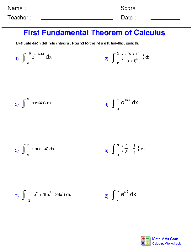 First Fundamental Theorem of Calculus Worksheets