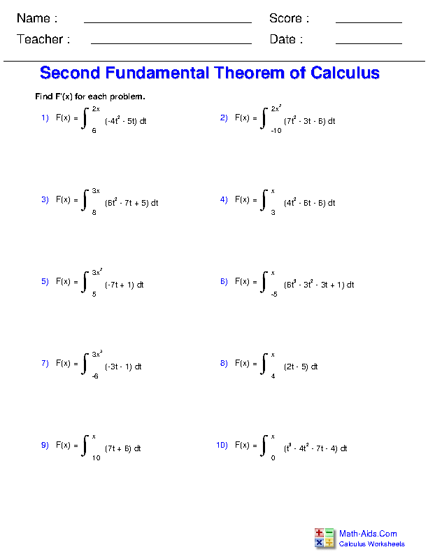 Second Fundamental Theorem of Calculus Worksheets