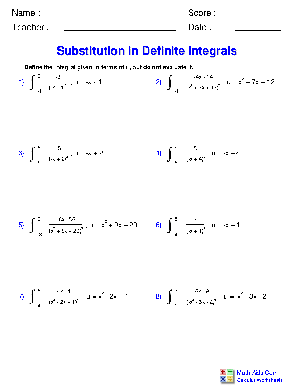 Substitution in Definite Integrals Worksheets