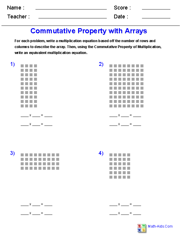 multiplication worksheets  dynamically created multiplication  commutative property of multiplicationbrwith arrays worksheets