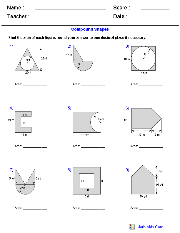 Worksheets Find The Area Of The Shaded Region Worksheet With Answers geometry worksheets area and perimeter of compound shapes adding subtracting regions worksheets