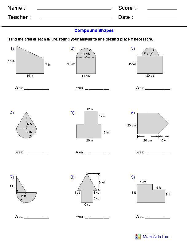 Worksheets Area Of Irregular Figures Worksheet geometry worksheets area and perimeter of compound shapes adding regions worksheets