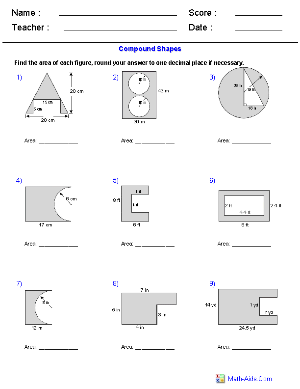 Area of shapes worksheet 7th grade