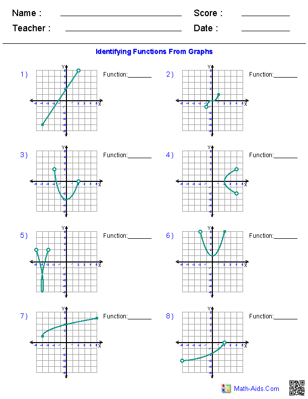 Algebra 1 Worksheets – Graphs of Functions Worksheet