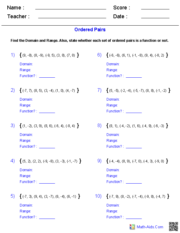 Identifying Functions from Ordered Pairs Worksheets