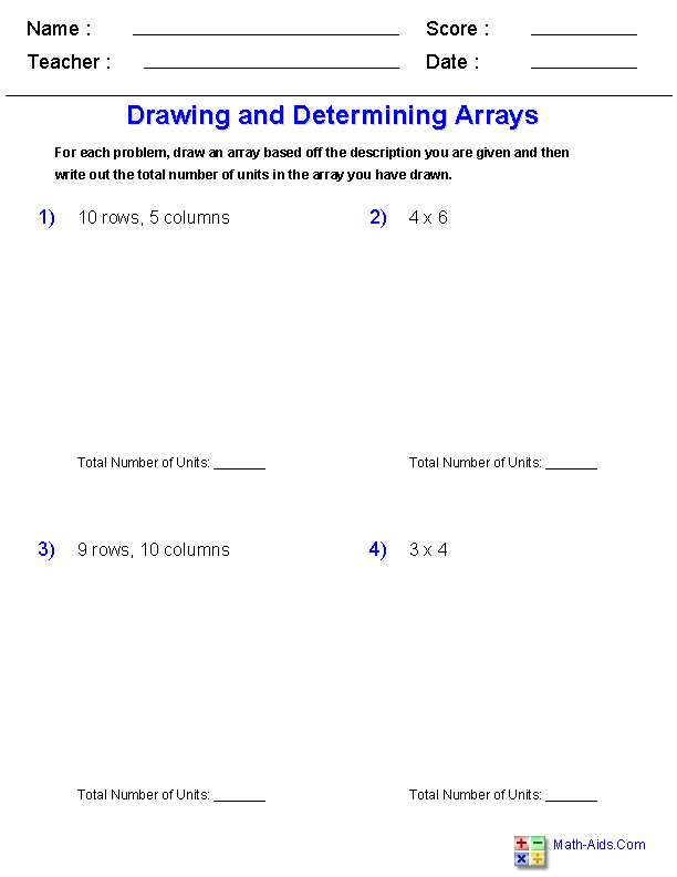 Drawing and Determining<br>with Arrays Worksheets