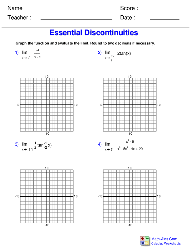 Limits at Essential Discontinuities with Graphs Worksheets