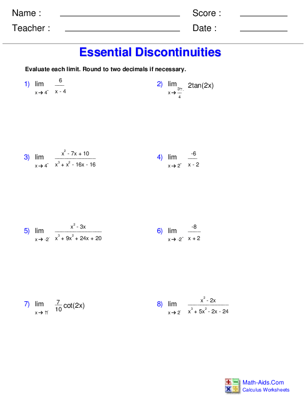 Limits at Essential Discontinuities Worksheets