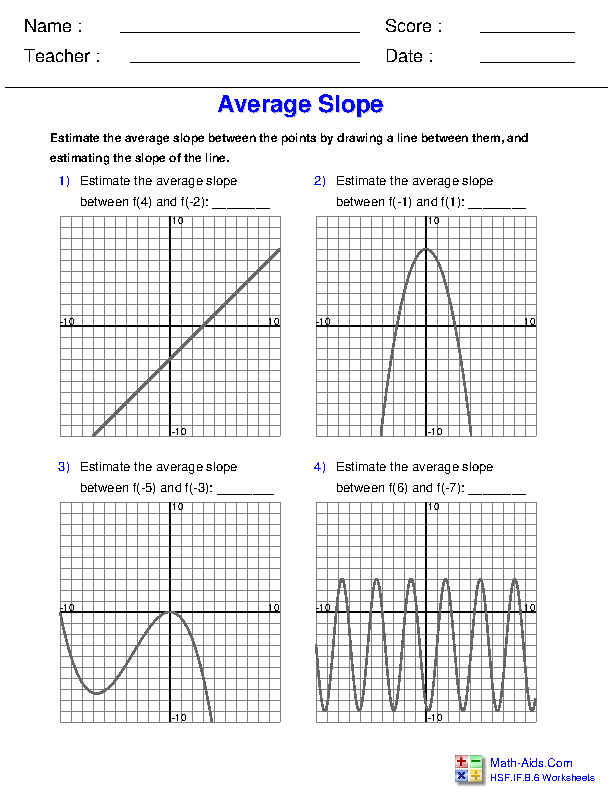 Rate of Change - Graphs General Functions Worksheets