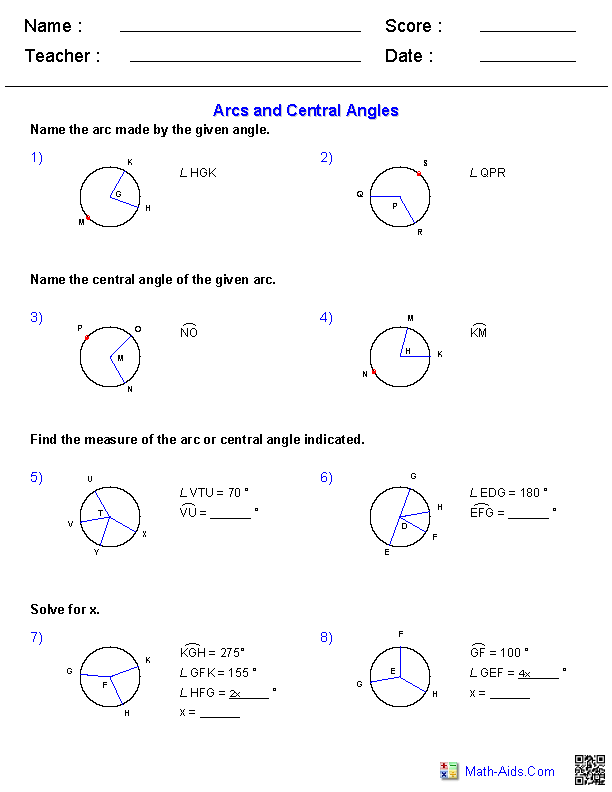 Geometry Worksheets – Complementary and Supplementary Angles Worksheets