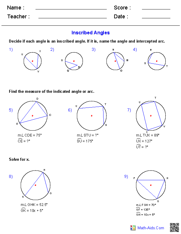 Printables Inscribed Angles Worksheet geometry worksheets angles for practice and study inscribed worksheets