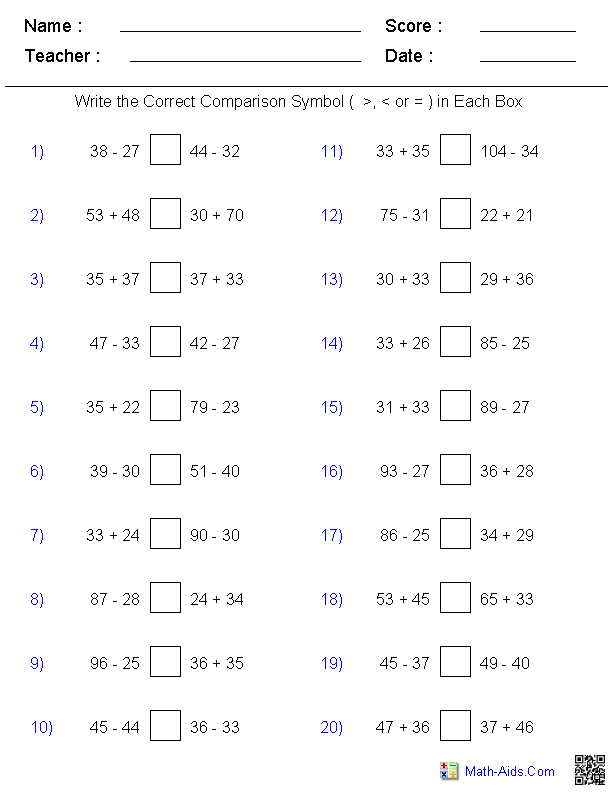 Comparing Mixed Problems Worksheets