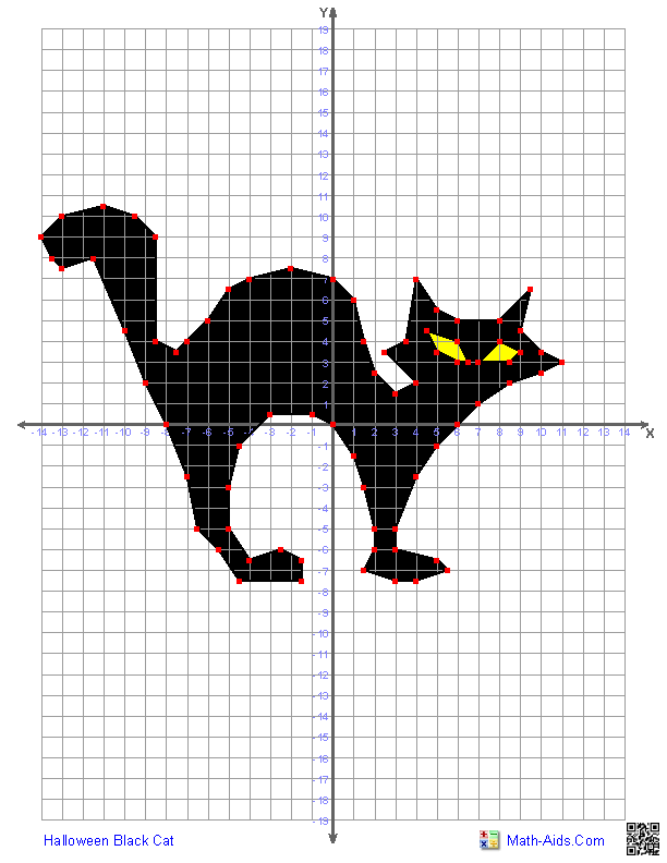 Printables Graphing Paper Using Math Points graphing worksheets four quadrant characters halloween black cat