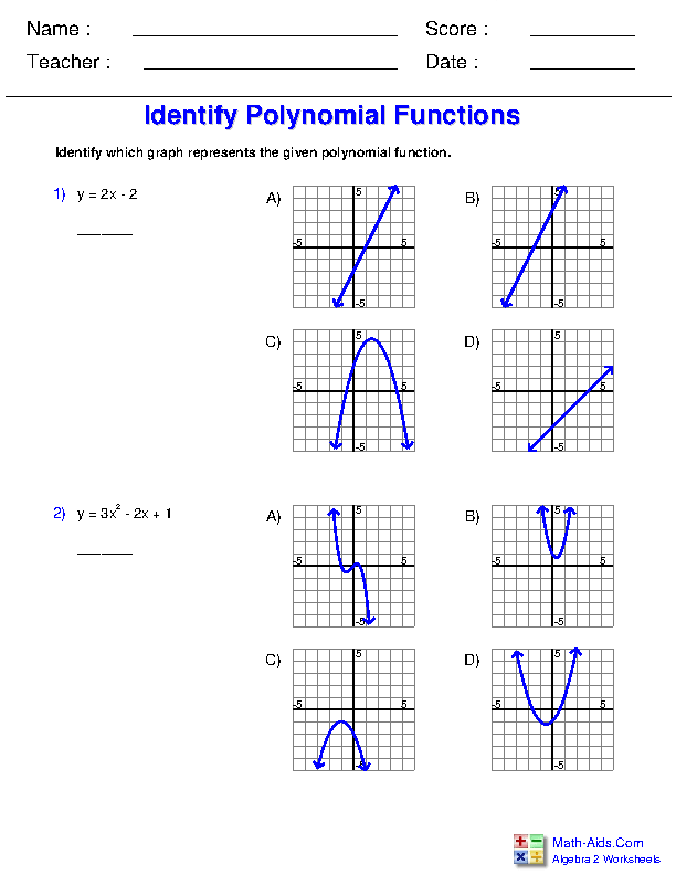 Identify Graphs of Polynomial Functions Worksheets