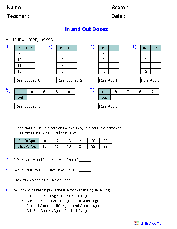 Function Table Worksheets : Function Table u0026 In and Out ...