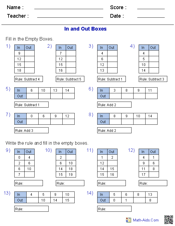 Input Output Tables Worksheets: Function Table Worksheets   Function Table & In and Out Boxes    ,
