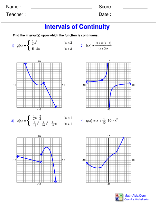 Determining Continuity with Graphs Worksheets