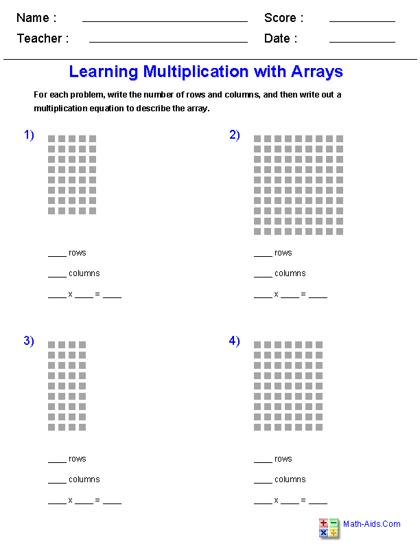 Learning Multiplication with Arrays Worksheets