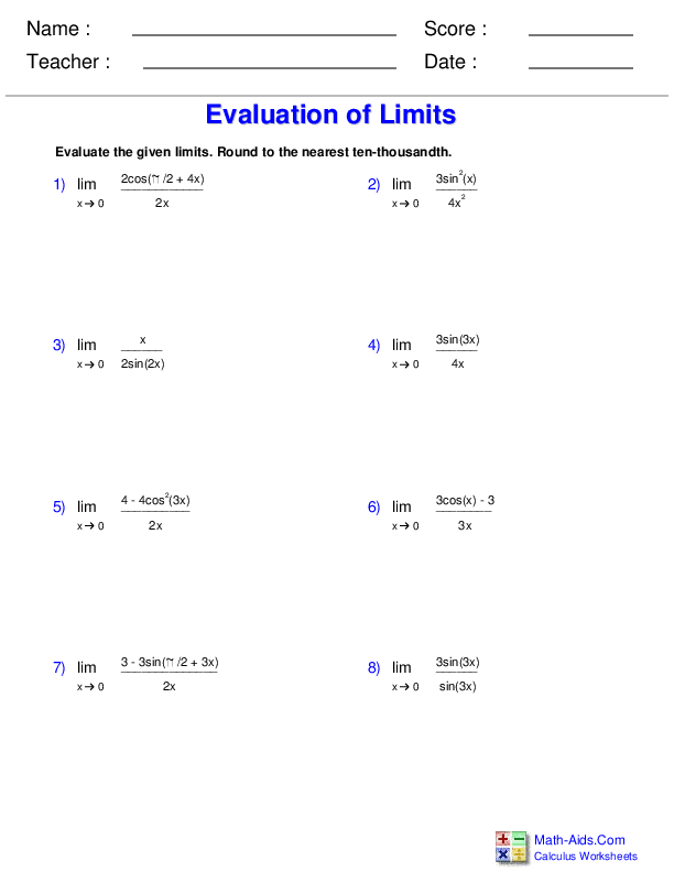 Evaluating Limits at Discontinuities of Trig Functions Worksheets