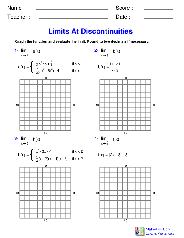 Limits and Continuity Calculus Worksheets