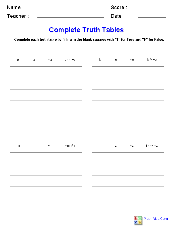 truth tables worksheet worksheets releaseboard free printable worksheets and activities. Black Bedroom Furniture Sets. Home Design Ideas