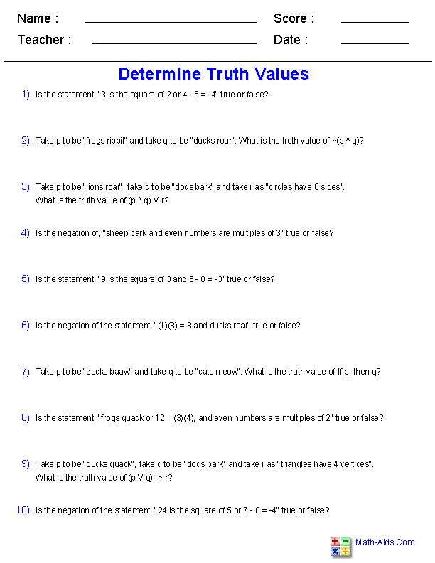 Determine Truth Values Worksheets