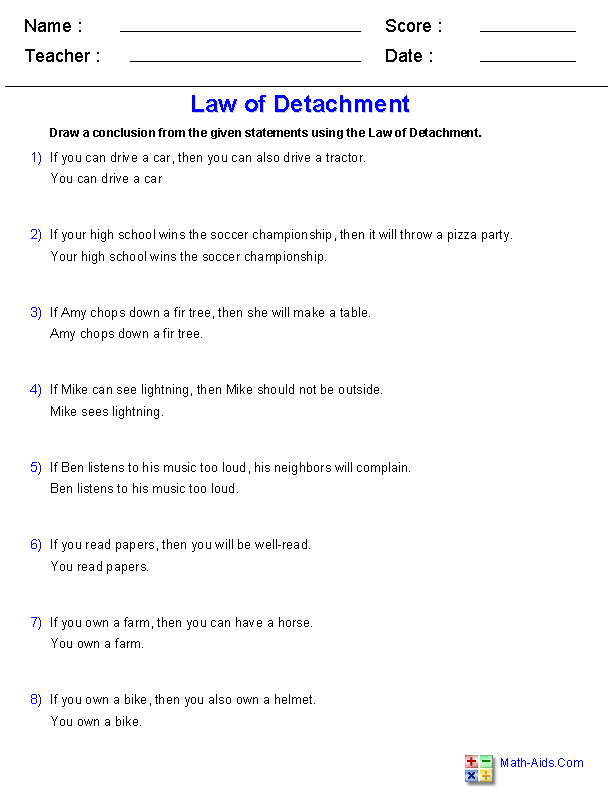 Law of Detachment Worksheets