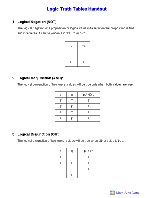 worksheet review statements truth tables answers. Black Bedroom Furniture Sets. Home Design Ideas