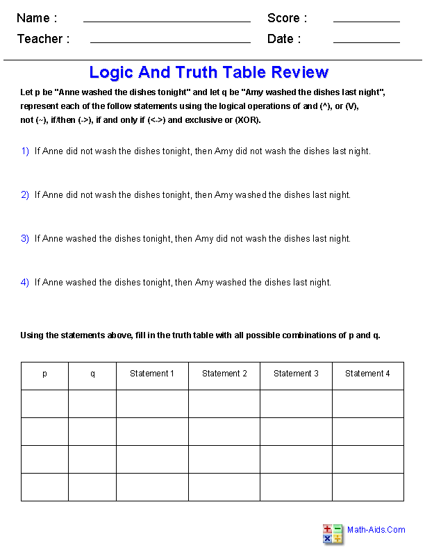 Logic Truth Table Review Worksheets