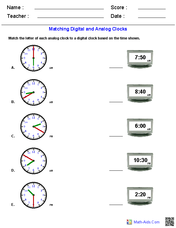 Matching Analog and Digital Clocks Worksheets