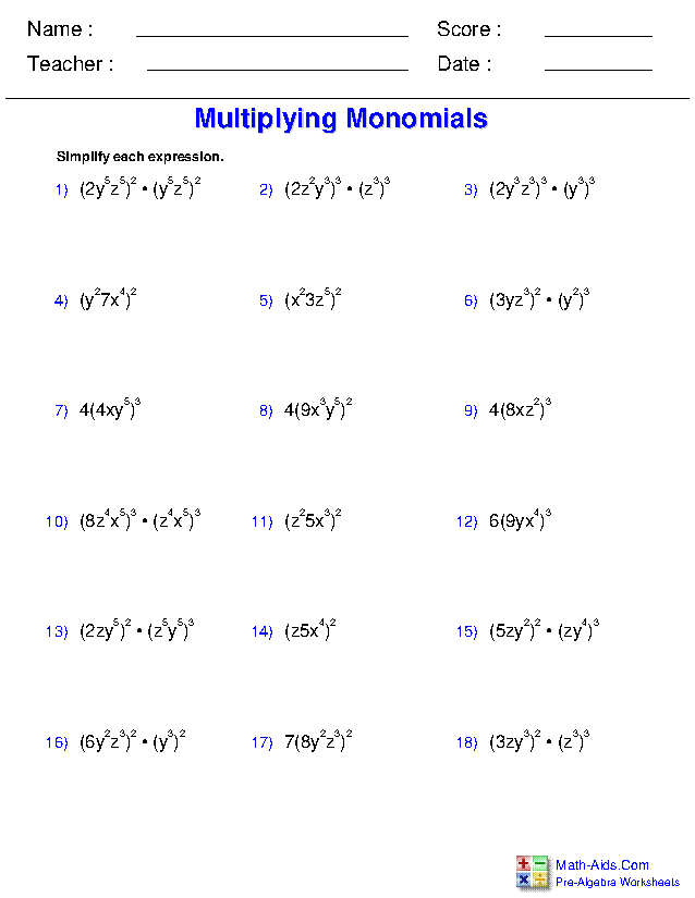 Multiplying Monomials Worksheets