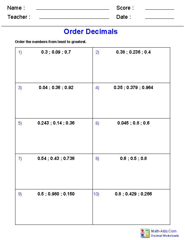 Ordering Decimal Numbers Worksheets