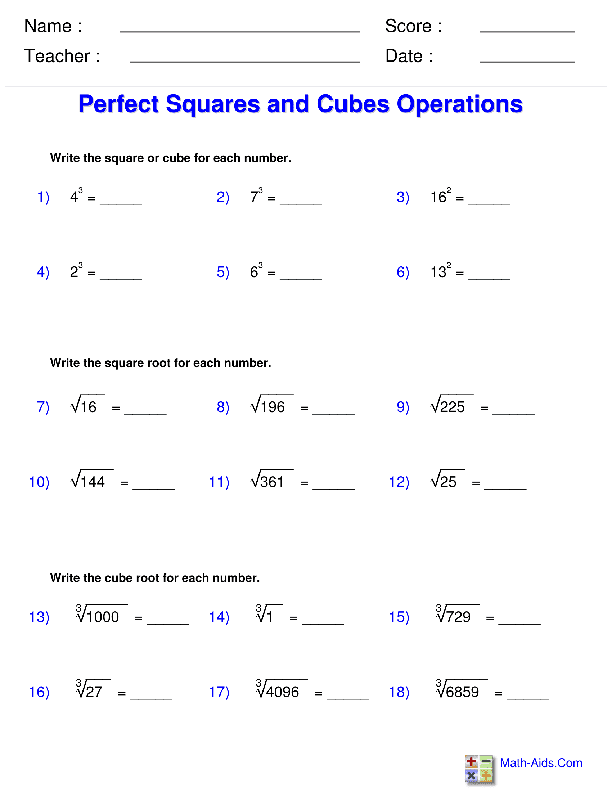 Exponents and Radicals Worksheets – Worksheets on Exponents