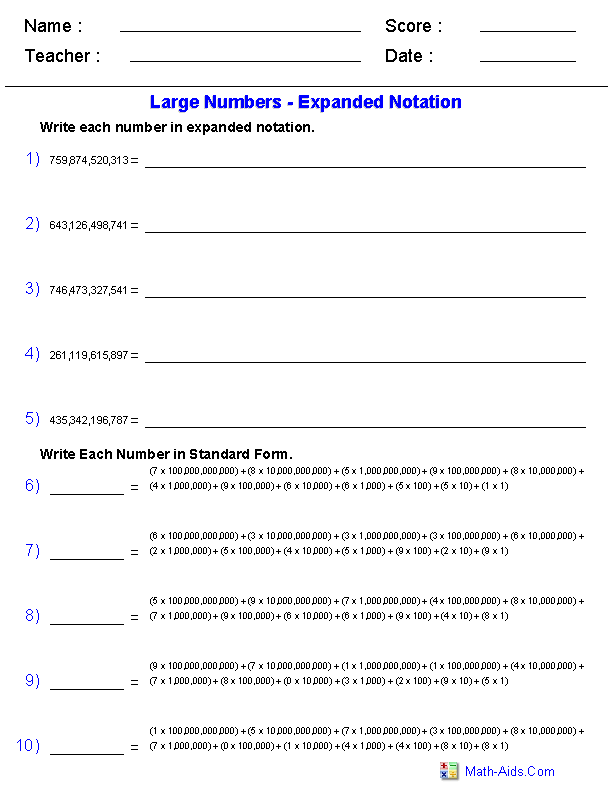 expanded form to millions worksheets  Place Value Worksheets | Expanded Notation with Billions ...