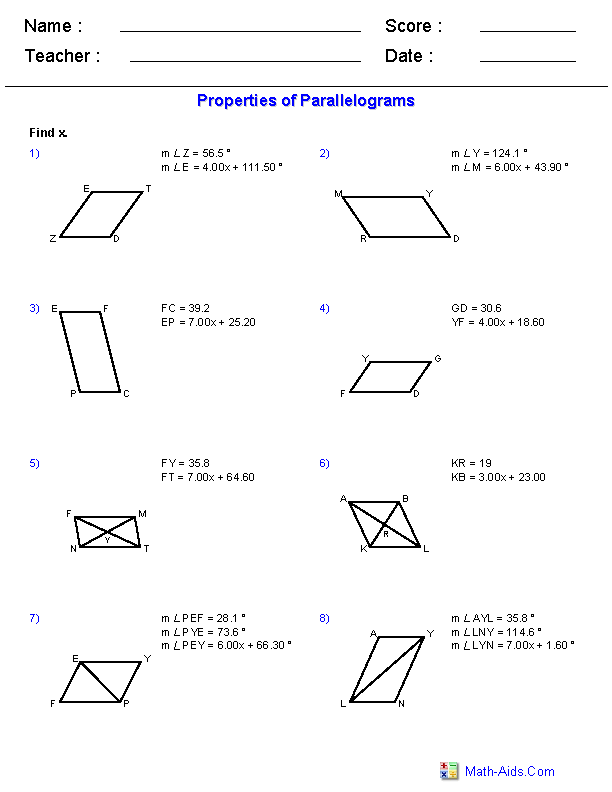 Printables Properties Of Parallelograms Worksheet geometry worksheets quadrilaterals and polygons properties of parallelograms worksheets