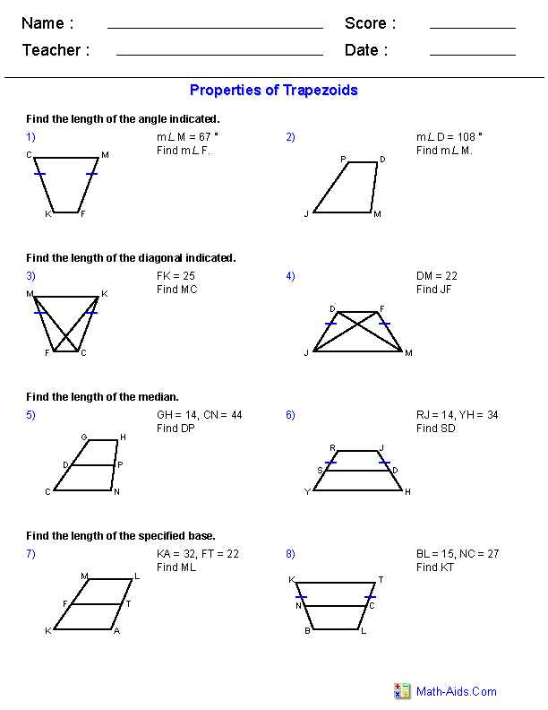 Worksheet Area Of A Trapezoid Worksheet geometry worksheets quadrilaterals and polygons properties of trapezoids worksheets