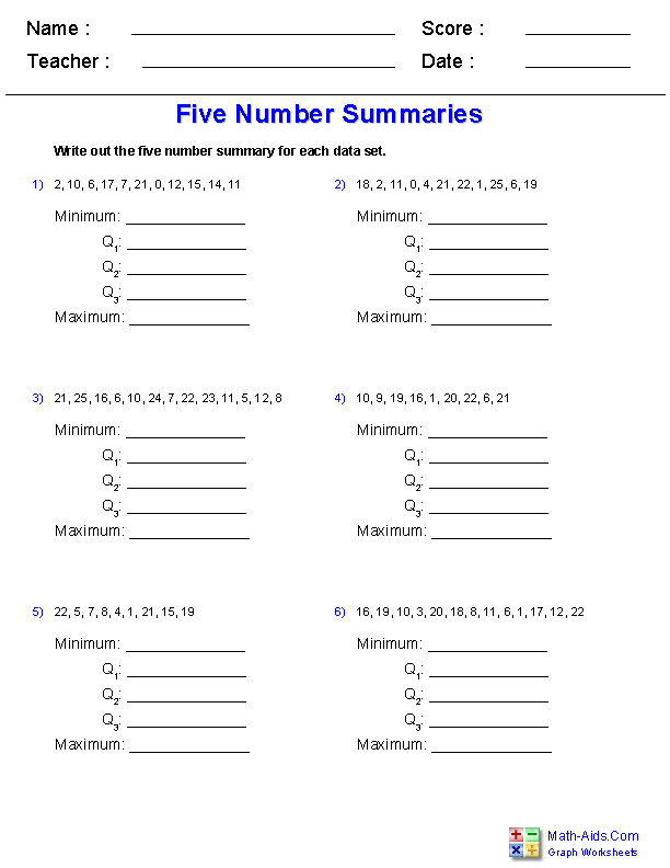 Quartile-Five-Number-Summary Worksheets