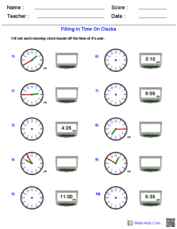 telling time worksheets 1 second defference