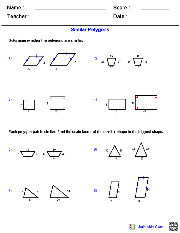 Printables Similar Polygons Worksheet geometry worksheets similarity similar polygons worksheets