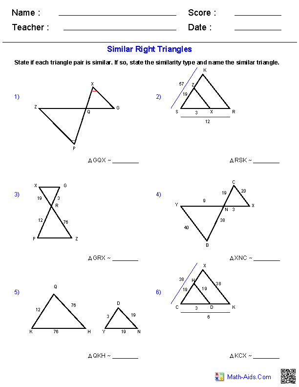 Geometry Worksheets – Similar Triangles Worksheet Pdf