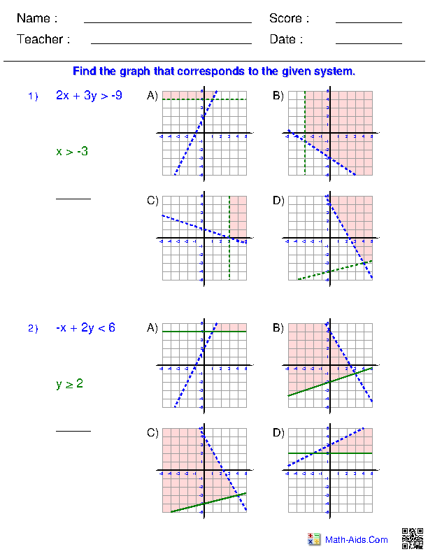 Algebra 2 Worksheets | Systems of Equations and Inequalities Worksheets