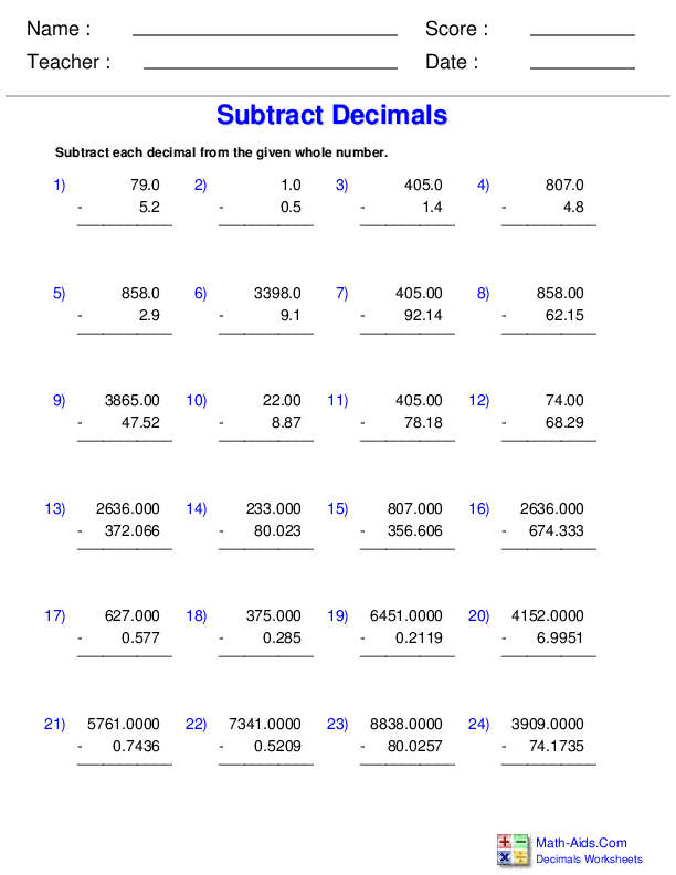 Decimals Worksheets Dynamically Created Decimal Worksheets