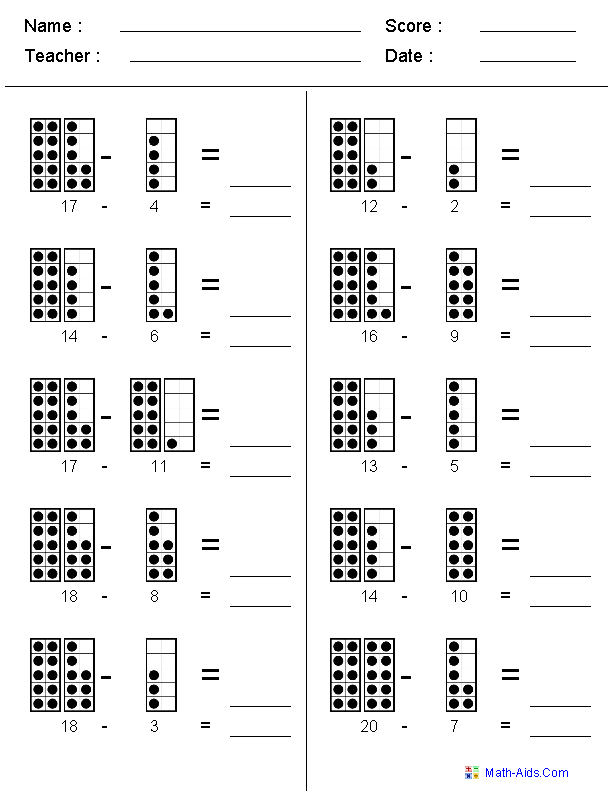 Thumbnail image of Subtraction to 20 worksheets | Kids Math ...