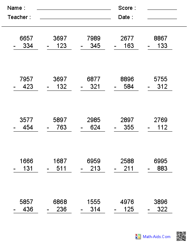 2, 3, or 4 Digit No Regrouping Vertical Format Subtraction Worksheets