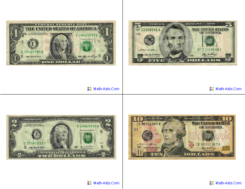 U.S.A. Bills Flash Cards