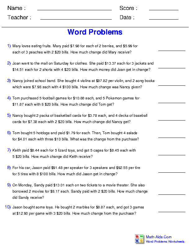 U.S. Money Change from a Purchase Multiplication Word Problems